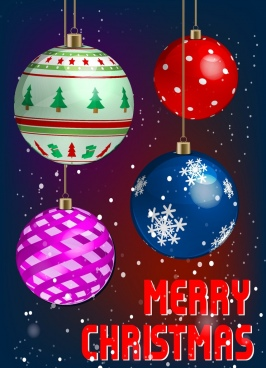 christmas banner colorful decorated baubles decor winter backdrop