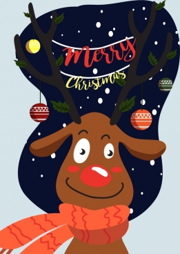 christmas banner cute stylized reindeer icon decorated horn