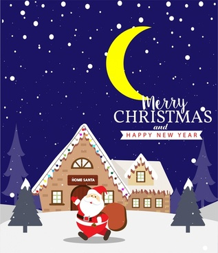 christmas banner design santa in moonlight illustration