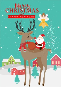 christmas banner design with santa claus and reindeer