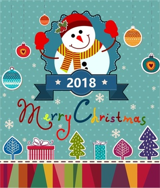 christmas banner design with snowman and x mas symbols