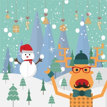 christmas banner design with stylized reindeer and snowman