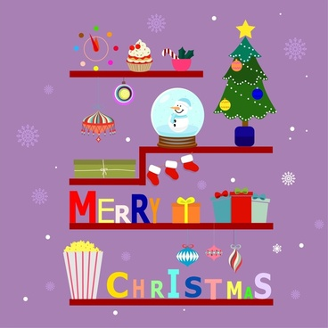 christmas banner design with symbols arrangement on shelf