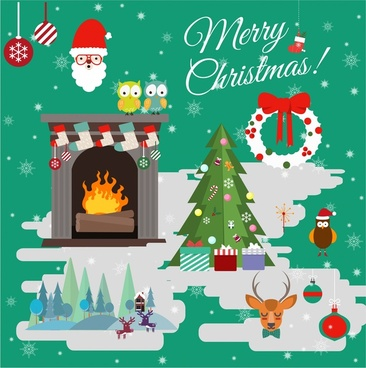 christmas banner design with symbols elements