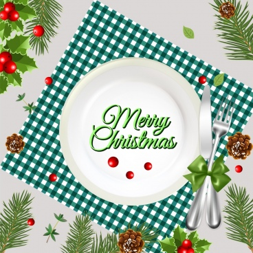 christmas banner dishware icons decor multicolored design