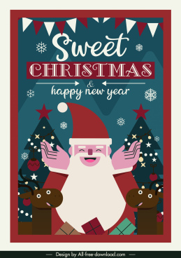 christmas banner happy santa reindeer sketch classical design