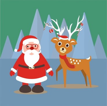 christmas banner illustration with santa claus and reindeer