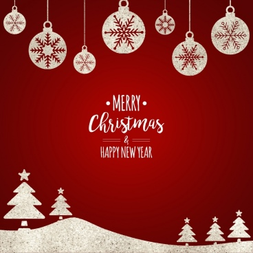 christmas banner red design flat baubles trees icons