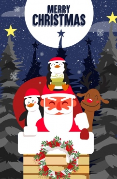 christmas banner santa claus cute animal icons decor