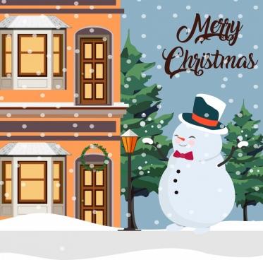 christmas banner snowman falling snow house icons decor