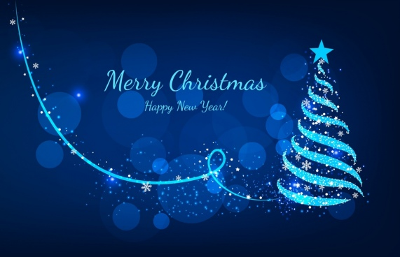 christmas banner sparkling bokeh blue fir tree icon