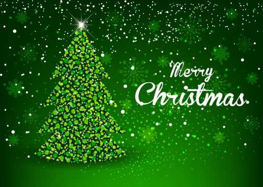 christmas banner sparkling green decor fir tree icon