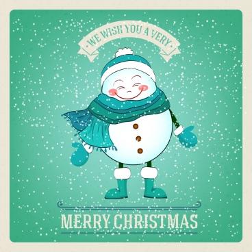 christmas banner stylized cute snowman falling snow