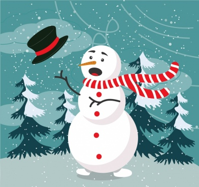christmas banner stylized snowman colored cartoon