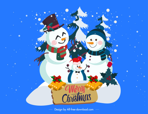 christmas banner stylized snowman family sketch classic decor