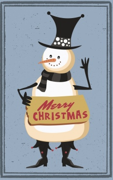 christmas banner stylized snowman icon retro design