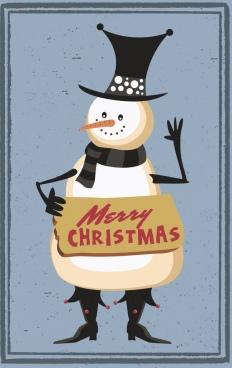 christmas banner stylized snowman icon retro design