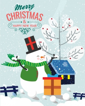 christmas banner stylized snowman icon snowy backdrop