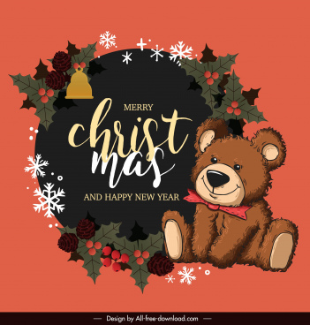 christmas banner template classic cute teddy bear decor