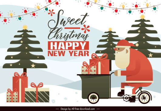 christmas banner template colorful flat classic design