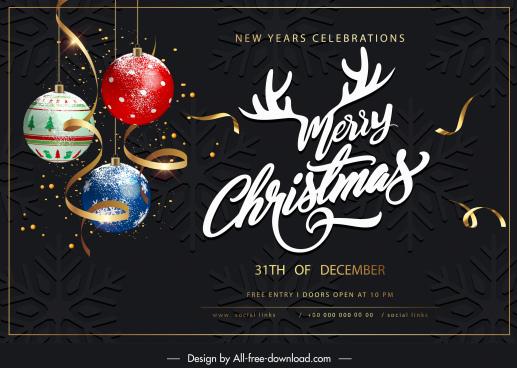 christmas banner template elegant baubles calligraphy modern dark