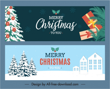 christmas banner templates contrasted flat symbols sketch