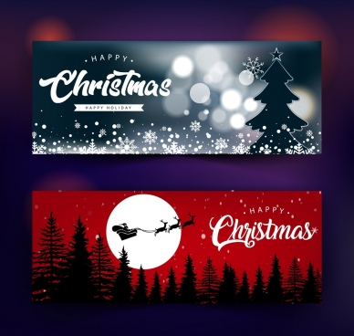 christmas banner templates dark bokeh decor snowy backdrop