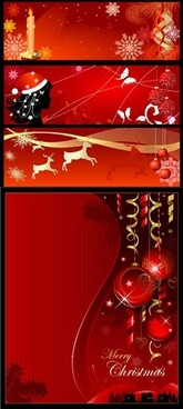 xmas banner templates red design classical emblems decor
