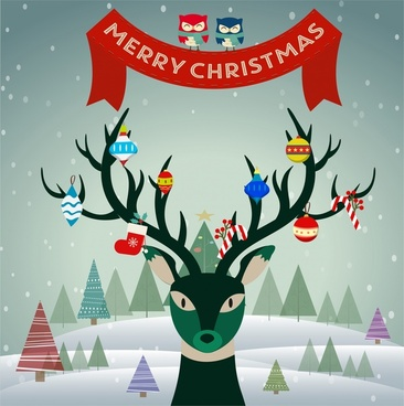 christmas banner with reindeer hanging symbols on horns