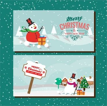 christmas banners sets snowman style design