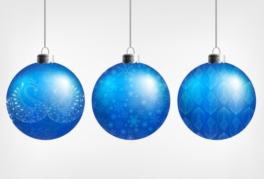 christmas bauble icons shiny blue design