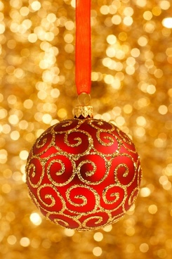 christmas bauble on gold