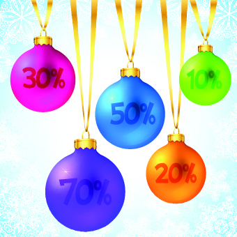 christmas baubles and big sale vector
