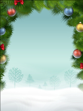 christmas baubles and snow ground background
