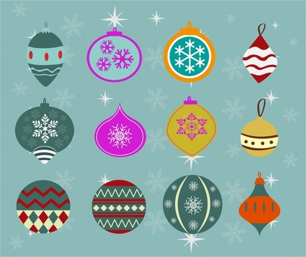 christmas baubles collection in colored flat design