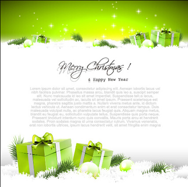 christmas baubles elements with green background vector