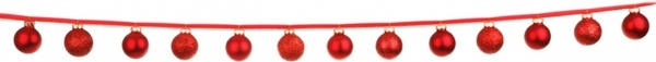 christmas baubles in line