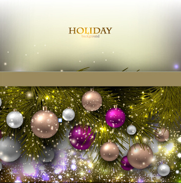christmas baubles with shiny holiday background vector