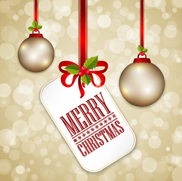 christmas baubles with tag vector background