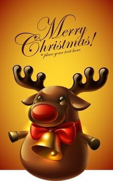 christmas bells vector cartoon moose