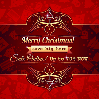 christmas big sale creative design vector background set