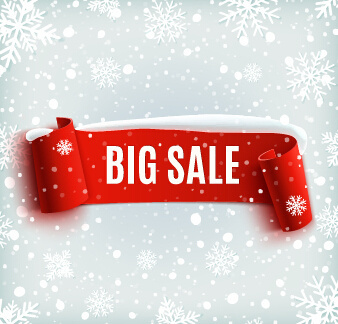 christmas big sale red banner with snowflake pattern vector