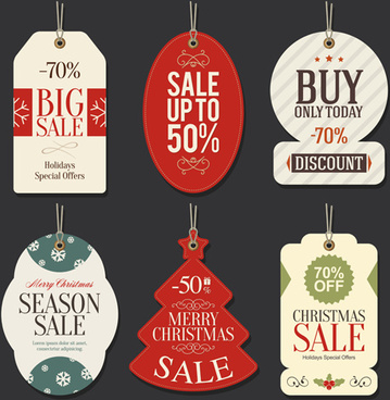 christmas big sale vector tags