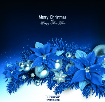 christmas blue pearl flower vector background
