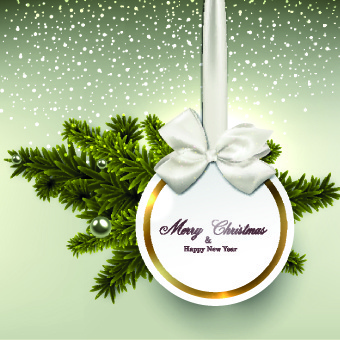 christmas bow with tags design vectors