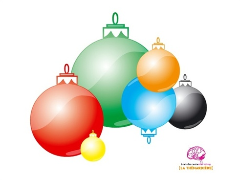 christmas bauble balls vector illustration in color style