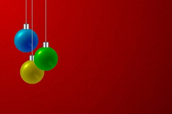 christmas bulbs red background