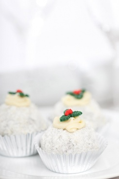 christmas cake with holly