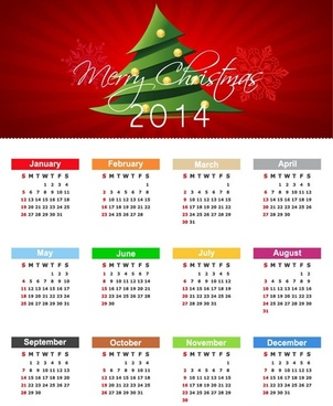 christmas calendar for14 year vector illustration