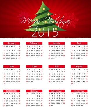 christmas calendar for15 year vector illustration